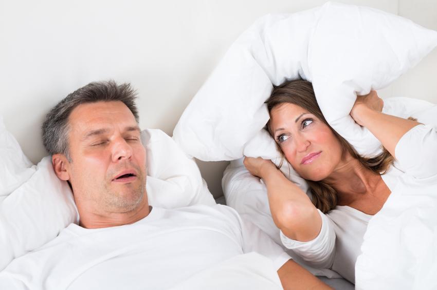 man with sleep apnea keeping wife awake